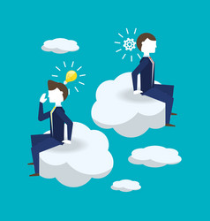 colleagues thinking and planning ideas vector image