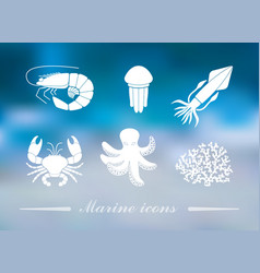 collection icons sea inhabitants in flat vector image