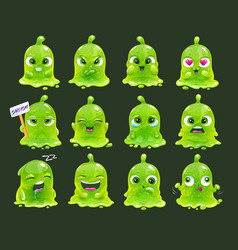 comic slimy aliens funny cartoon green slime vector image