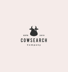 cow bull search logo hipster retro vintage icon vector image