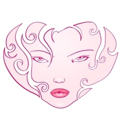 Curly Girl Face Heart vector