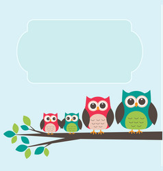 cute owl family with place for text vector image vector image