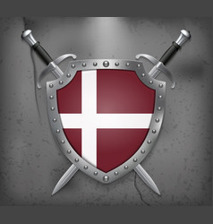 Denmark orlogsflaget variant flag the shield with vector