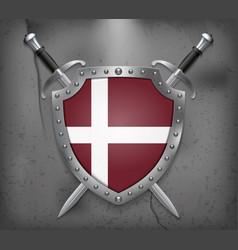 denmark orlogsflaget variant flag the shield with vector image