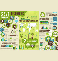 Ecology infographic for save earth planet concept vector