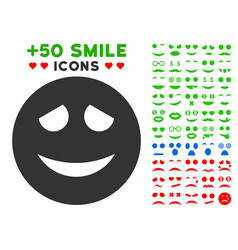 embarrased smiley icon with bonus smile set vector image