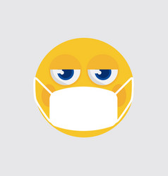 emoji with medical mask icon vector image