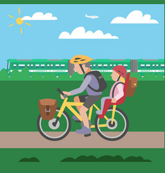 family cycle poster with father riding vector image
