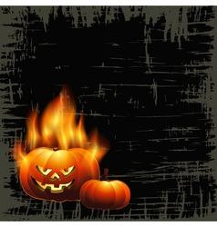 Fiery pumpkin vector