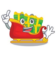 finger christmas santa sleigh isolated on mascot vector image