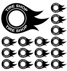 Flame tire service shop rent wash car vector