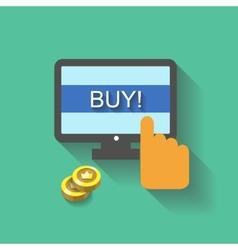 Flat business concept Online shopping hand vector