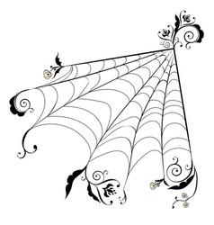 Floral spider web vector