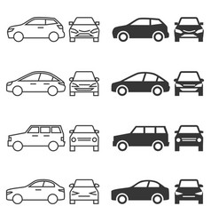 front and side car - line and silhouette cars vector image