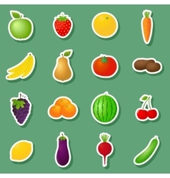 Fruits and vegetables stickers vector image