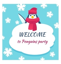 Funny penguin poster vector