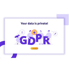Gdpr concept with big modern people vector