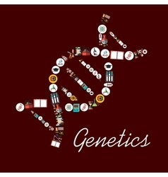 Genetic science symbols in DNA shape icon vector image