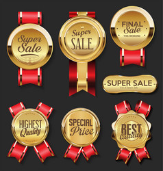 gold medal with red ribbons super sale collection vector image