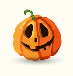 Halloween smiling spooky face pumpkin on white vector