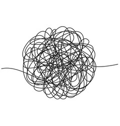 Hand drawn tangle of tangled thread sketch vector
