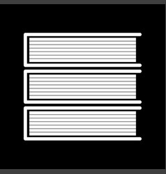horizontal stack of books white color icon vector image