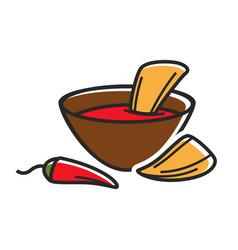 hot dip with nachos vector image