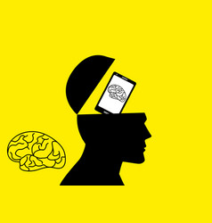 Human brain being replaced by a smart phone vector