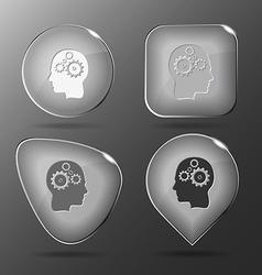 Human brain Glass buttons vector