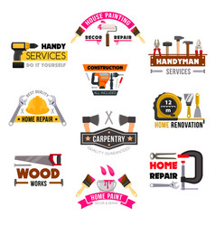 Icons set carpentry construction work tools vector