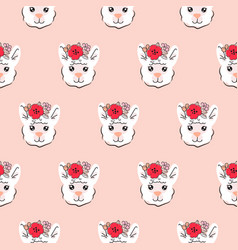 Lama seamless pattern cute animal with vector