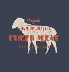 lamb sheep vintage logo retro print poster for vector image