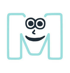 Letter m happy eccentric smiling character smiley vector