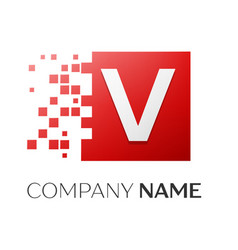 Letter v logo symbol in the colorful square with vector