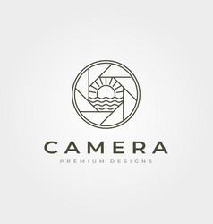 line art camera lens log with ocean sunburst view vector image