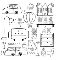 line hand drawn doodle set vector image