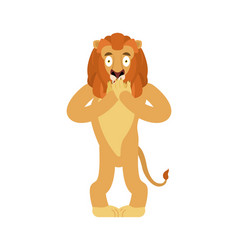 Lion scared omg wild animal oh my god emoji vector
