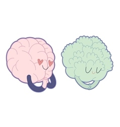 Love to broccoli Brain collection vector