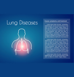 lung diseases blue background vector image