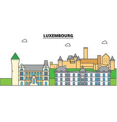 luxembourg city skyline architecture buildings vector image