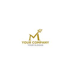 m wheat logo design vector image