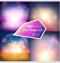 Magic flash backgrounds set vector