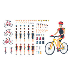 Man in special clothing on bicycle constructor vector
