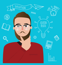Man thinker wearing glasses inspiration ideas vector