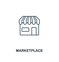 marketplace outline icon thin line element from vector image