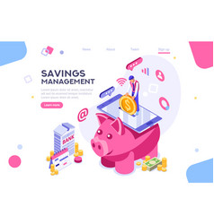 money on smartphone isometric vector image