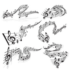 Music waves musical notes and clef on stave vector