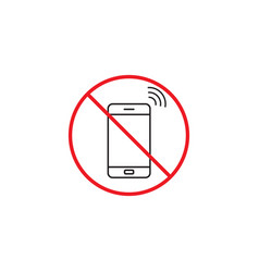 No phone line icon no talking red prohibited sign vector