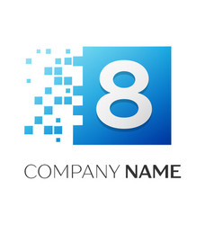 number eight logo symbol in the colorful square on vector image