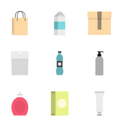 packing container icons set flat style vector image